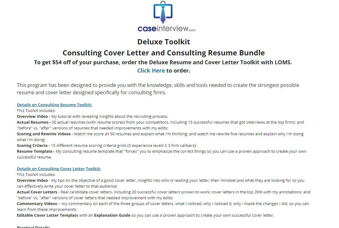 Consulting Cover Letter + Consulting Resume Tool kit by ...
