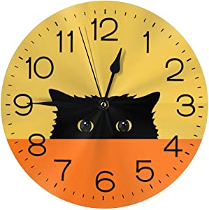 "N/W Shy Cat Wall Clock 10"""" Round,- Battery Operated Wall Clock Clocks for Home Decor Living Room Kitchen Bedroom Office"