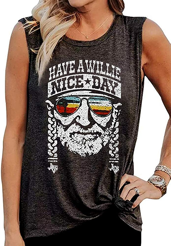 Vintage Have A Willie Nice Day Tank Tops Womens Country Music Sleeveless T Shirt Summer Letter Graphic Tee Vest