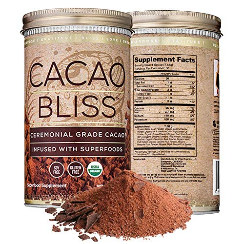 Cacao Bliss Superfood Powder: 30 Day Supply - Organic Superfood Supplement - Raw Cacao Superfood - Boosts Metabolism - Satisfies Chocolate Cravings - Non-Vegan