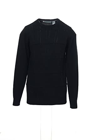 Oscar De La Renta Black Cable Knit Crew Neck Sweater Size Small At