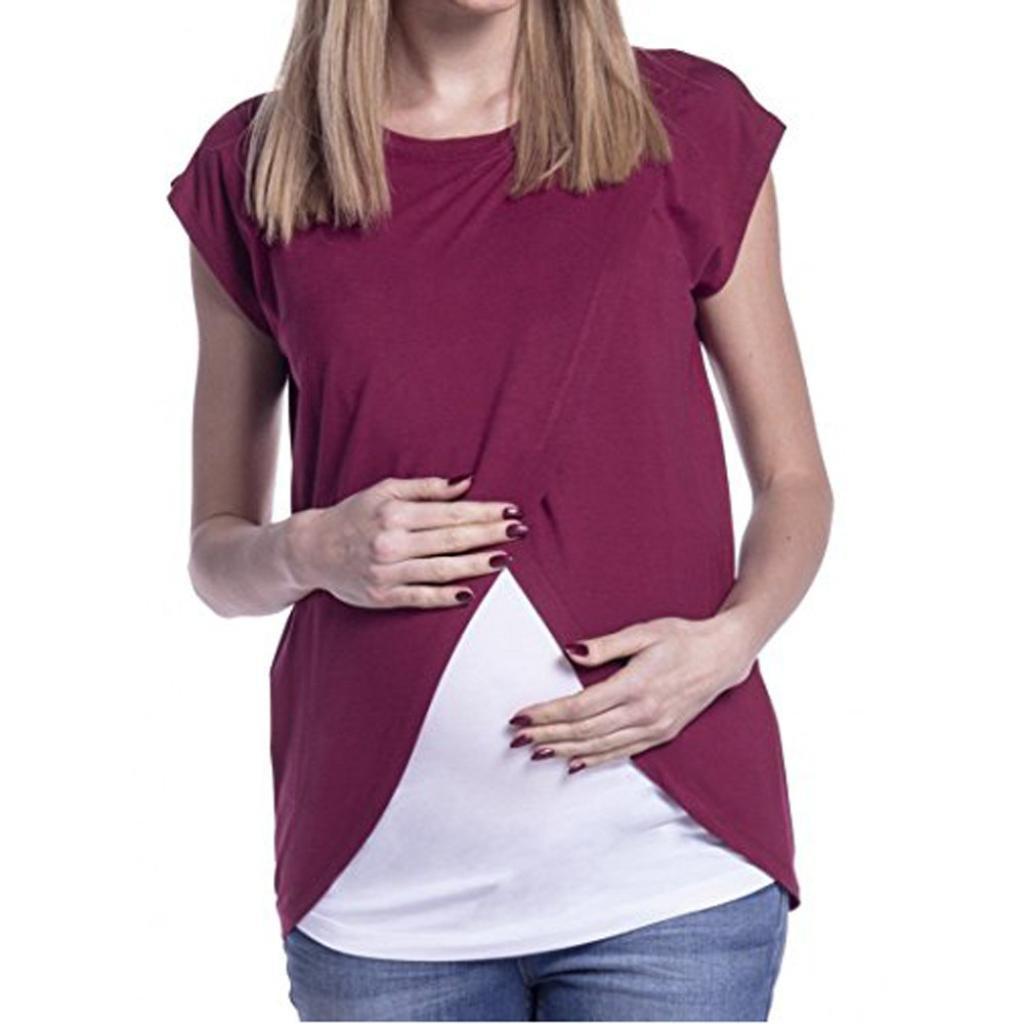Cinnamou Blusas para Mujeres Embarazadas,Patchwork Camisa de Manga Corta Para Mujer Casual Camiseta Mujer Ropa de Mujer EN Oferta Talla Grande Moda Tops ...