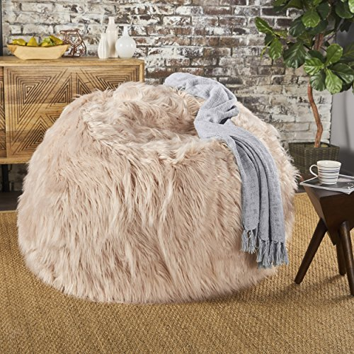 Lycus Faux Fur Bean Bag Chair (Pastel Pink) by GDF Studio