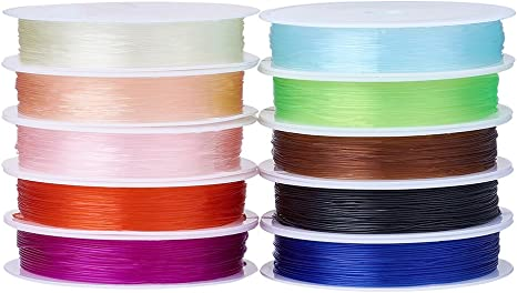 Boruo Elastic Stretch Polyester Spandex Yarns 1mm Crystal String Cord 100m per Roll Spool for jewelry making bracelet with Acrylic Jar Mixed 10 Color Lot