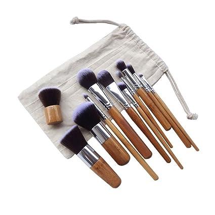 F-blue Bambú Mango Maquillaje Sombra de Ojos Blush Corrector Cepillo del Sistema de 11pcs