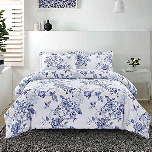 Floral Duvet Cover Set, 100% Soft Cotton Bedding, Bluish Purple Flowers with Light Gray Grey Cracking Pattern Printed, with Zipper Closure (3pcs, Queen Size) Blue Floral Duvet