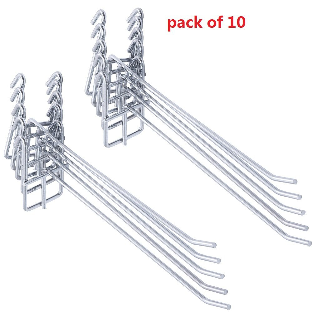 HYibiao Stainless Steel Grid Wall Bracket Peg Board Display Hook for Panel for Supermarket 10 PC
