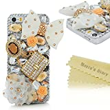 iphone 5s clear case with gems - Mavis's Diary for iPhone 5S Case,iPhone SE Case,iPhone 5 Case,3D Handmade Bling Crystal Lovely White Bow Golden Bag Orange Flowers Shiny Sparkle Diamond Gems Design Hard Clear Cover for Iphone SE 5S 5