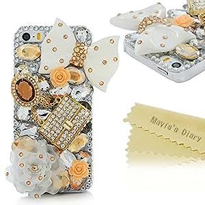 Mavis's Diary for iPhone 5S Case,iPhone SE Case,iPhone 5 Case,3D Handmade Bling Crystal Lovely White Bow Golden Bag Orange Flowers Shiny Sparkle Diamond Gems Design Hard Clear Cover for Iphone SE 5S 5