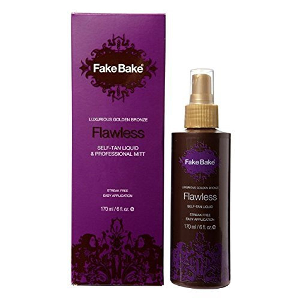 Self Tanning Liquid Solution Flawless by Fake Bake | Luxurious and Fast-Drying Solution that delivers a Beautiful Streak-Free Golden Glow | Black Coconut Scent | 6 fl oz Fab Products FBF-12