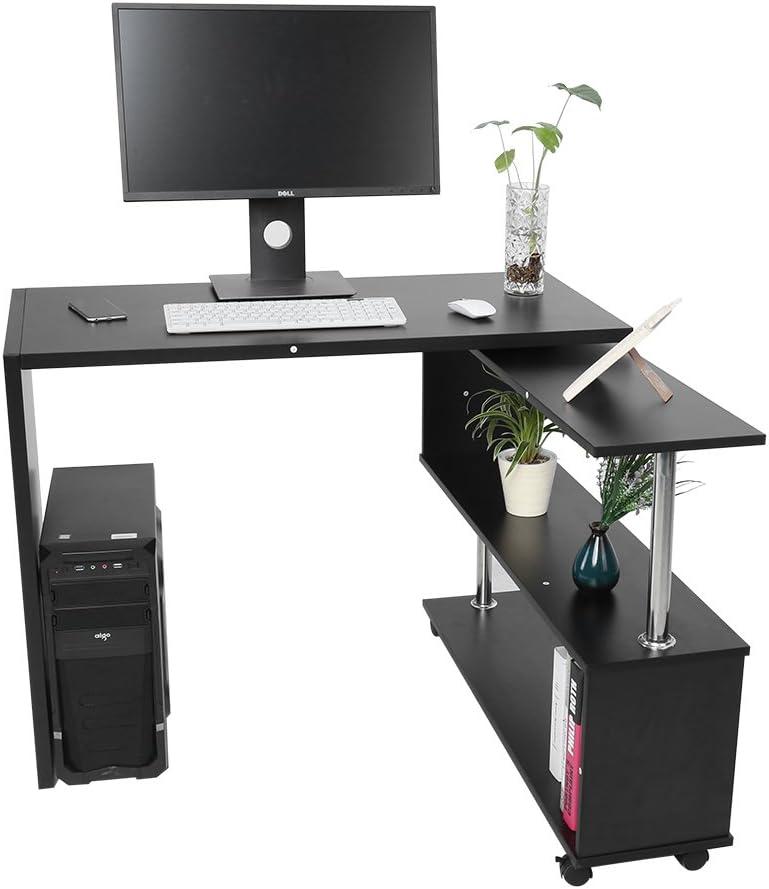 Desk Angolo Regolabile Girevole del Computer da 360 Gradi per Casa//Ufficio 100 x 48 x 75 cm Scrivania per Computer Scaffale Laptop Desk da Studio Nero Scrivania Ufficio per PC a Forma di L