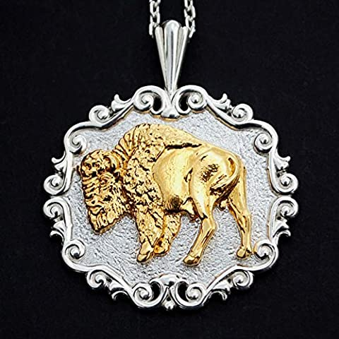 Gorgeous Solid 925 Sterling Silver & 24K Gold Overlay Buffalo Necklace NEW (Gold Buffalo Necklace)