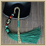 Comfspo Metal Chinese Style Green Bookmark Page Mark With Beautiful Fringe and Colorful Beads Best Choice For Birthday Presents and Souvenir