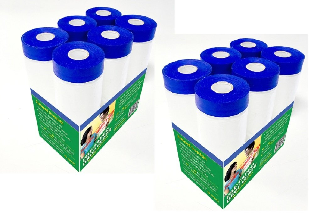 cu0026s pretaped drop cloth 48 in x 75 ft with 18mm blue masking tape 12 packs amazoncom