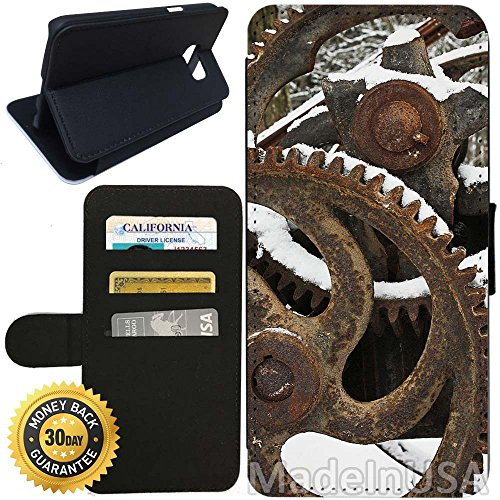 - Flip Wallet Case for Galaxy S7 (Vintage Gear Cogs) with Adjustable Stand and 3 Card Holders | Shock Protection | Lightweight | Includes Stylus Pen by Innosub