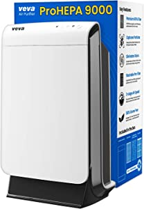 VEVA ProHEPA 9000 Air Purifier with Medical Grade H13 Filters for Large Room 600+ Sq. Ft Advanced 4-in-1 Technology Purifier for Allergens, Mold, Pollen, Smoke, Dust, Pet Dander & Odor Modern in White