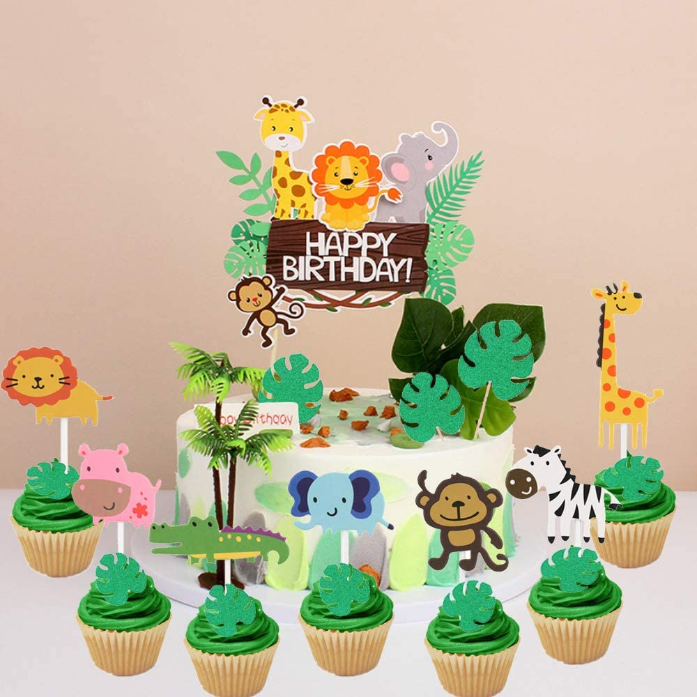 LaVenty 28 PCS Jungle Animals Birthday Cake Topper Jungle Safari Cupcake Topper Jungle Theme Birthday Cake Sign Zoo Party Cake Decor Baby Animal Topper