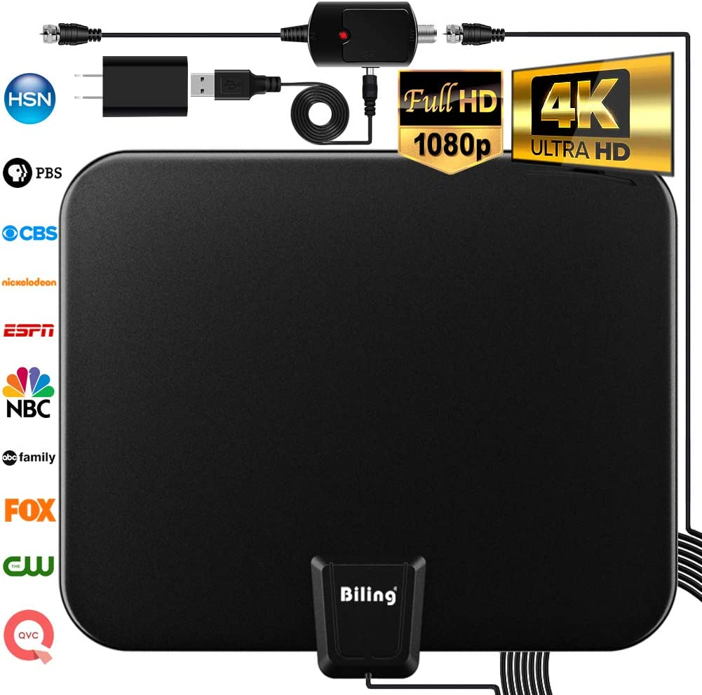 Biling TV Antenna for Digital TV Indoor, 80-120 Miles TV Antenna Indoor Amplified HDTV Antenna, Digital HDTV Antenna Long Range with Amplifier Signal Booster - 16.6 Feet Coax Cable/USB Power Adapter