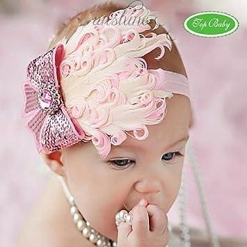 49187c53cc47f4 Ukamshop Schöne Mädchen Baby Luxus Unusal Feder Haarband Rose Bow Stirnband  (rosa)