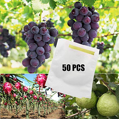 Alltripal 50PCS Reusable Fabric Fruit Protection Bags Reusable Nylon Mesh Netting Barrier Bags for Apple Grape Mango Pear Fruit and Vegetable Against from Birds(11.81X15.74inch, 50pcs)