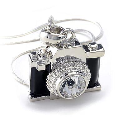 34e6de366 Amazon.com: PammyJ Silvertone Miniature Camera Pendant Photography Crystal  Necklace, 18