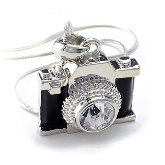 PammyJ Silvertone Miniature Camera Pendant Photography Crystal Necklace, 18""