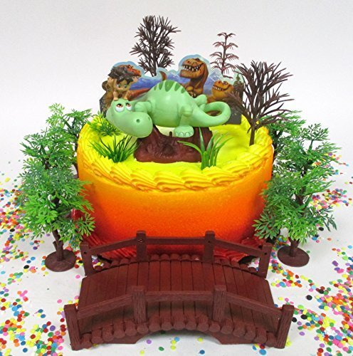 The Good Dinosaur Spot and Arlo Birthday Cake Topper Set Featuring Figure and Decorative Themed Accessories