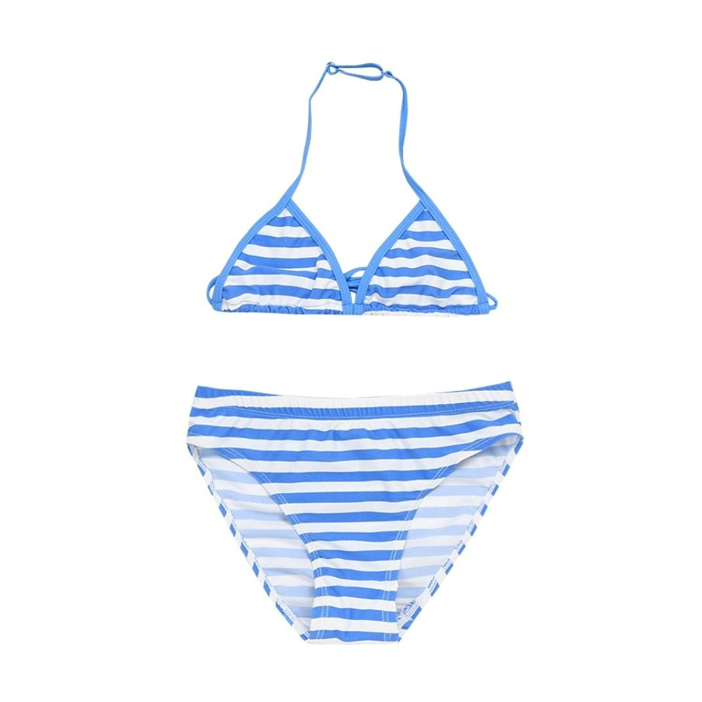 Fineser Little Girls Swimsuit 2 Pieces Halter Stripe Swimwear Beach Bikini Set