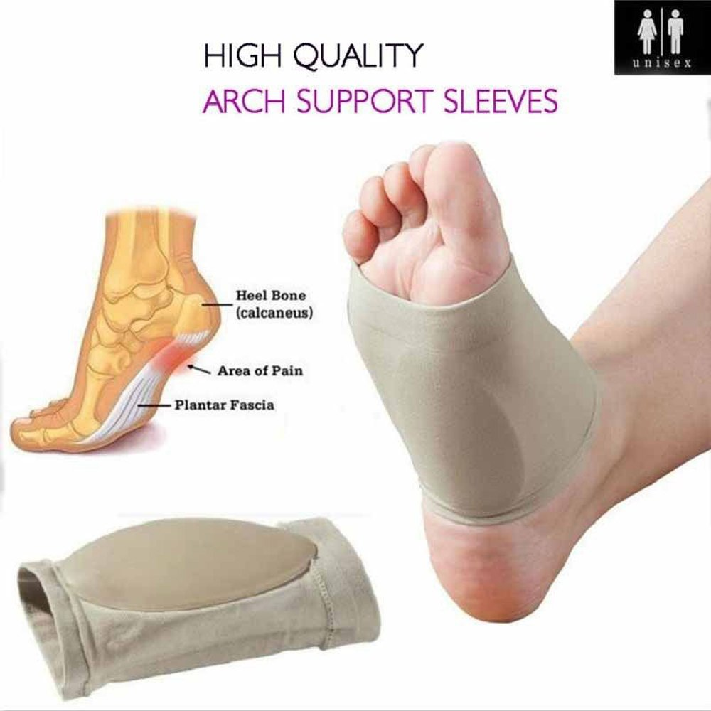 zinnor Plantar Fasciitis Therapy Wrap Gel Heel Pad Orthotic Arch Support Brace Shoe Cushion Compression Sleeves Insole for Flat Feet Breatheable