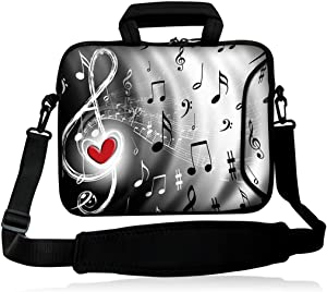 "iColor 15"" Laptop Shoulder Bag 14.1"" 14.2"" 15.6"" Inch Neoprene Laptop Messenger Bag 15.4"" Notebook Computer Dual Zipper Case Cover Pouch Holder Pocket -Music & Red heart"