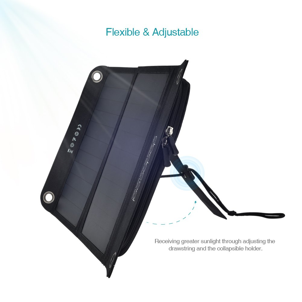 dodocool 2ポート ソーラーチャージー折り畳み式10000 mAhモバイルバッテリーSunPowerのソーラーパネル搭載防水防災非常用