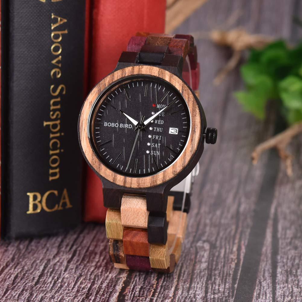 Men Wooden Watch Couples Colorful Week  Date Display Quartz Watches Handmade Casual Wood Wrist Watch