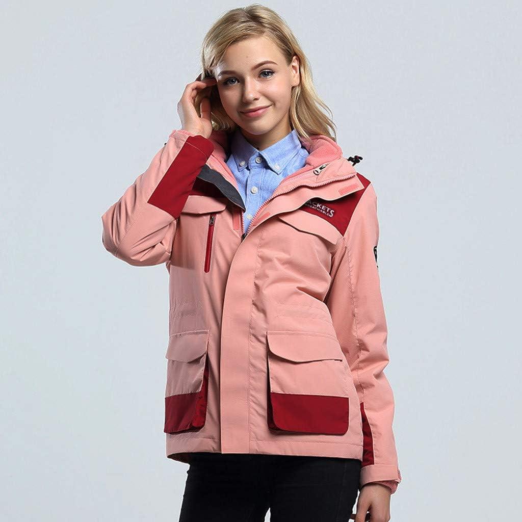 Lataw Women Men Jacket Sweatshirt Casual Autumn Winter Coat Pullover Long Sleeve Hooded Zipper Outdoor Waterproof Outerwear