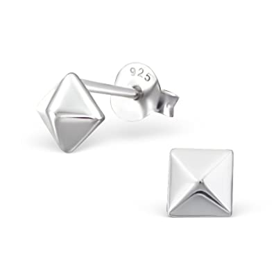 93b3097e4 Si Si Select - Quality 925 Sterling Silver Earrings - Plain Square Pyramid  Studs 4mm - Free Gift Box: Amazon.co.uk: Jewellery