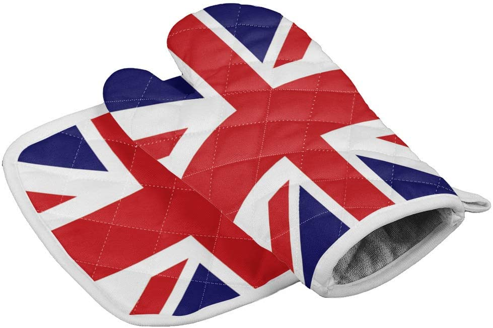 VCFUN Kitchen Oven Mitts and Pot Holders, England Flag UK Oven Gloves and Potholders Hot Pads Set for BBQ Grilling Cooking Baking, Heat Resistant, Non-Slip, Red Blue White