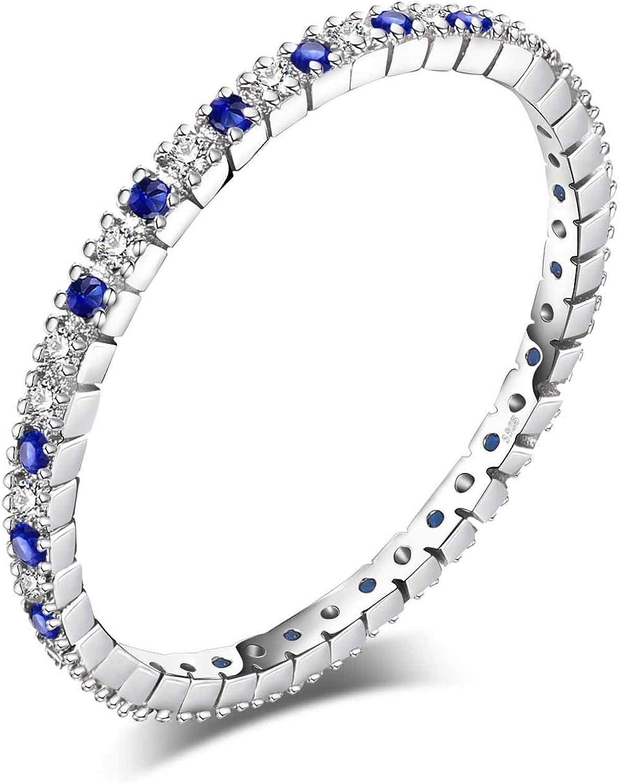 JewelryPalace Anillo de boda Exquisito Espinela azul creado Plata de ley 925