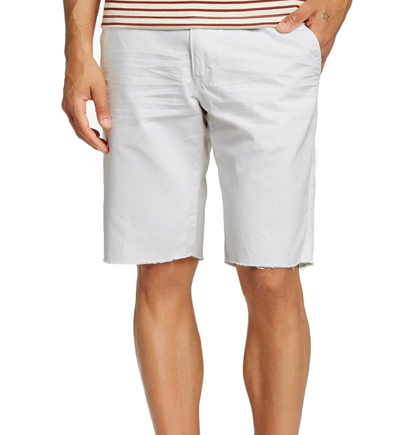 f29561fa216c UNION Bright Mens Frayed-Hem Flat Front Stretch Shorts White 38 new ...