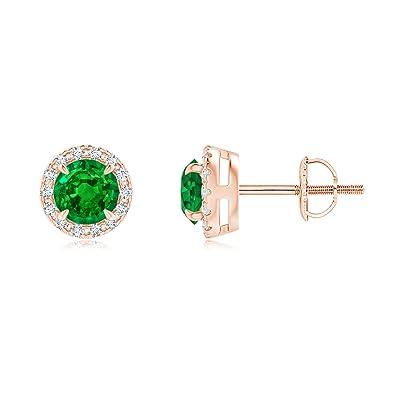 Angara Claw-Set Emerald and Diamond Halo Stud Earrings fNGzH