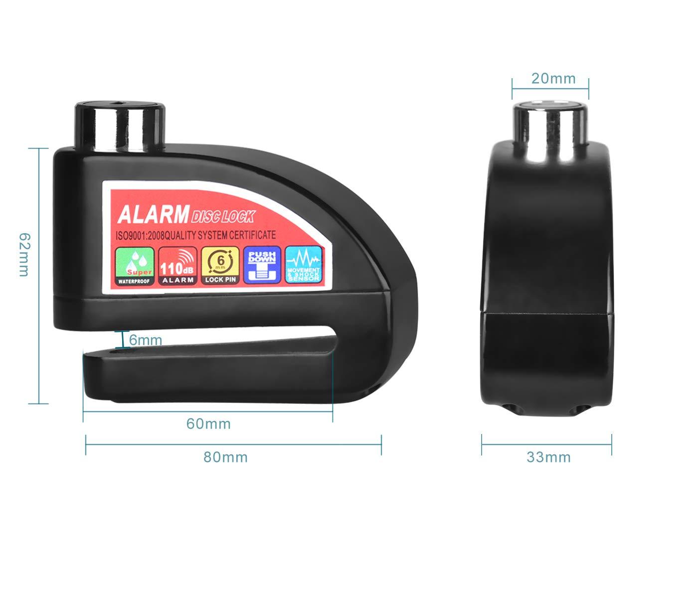 Echoice Candado de Disco con Alarma 110dB Bloqueo de Disco con 1.5m Cable de Seguridad para Moto, Bicicleta, Bicicleta Eléctricamente, Negro