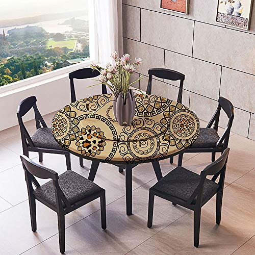 """Luxury Round Table Cloth for Home use Moroccan Faience Pottery Dishes on Display in an Alley Outside for Buffet Table, Holiday Dinner 50""""-55"""" Round (Elastic Edge)"""