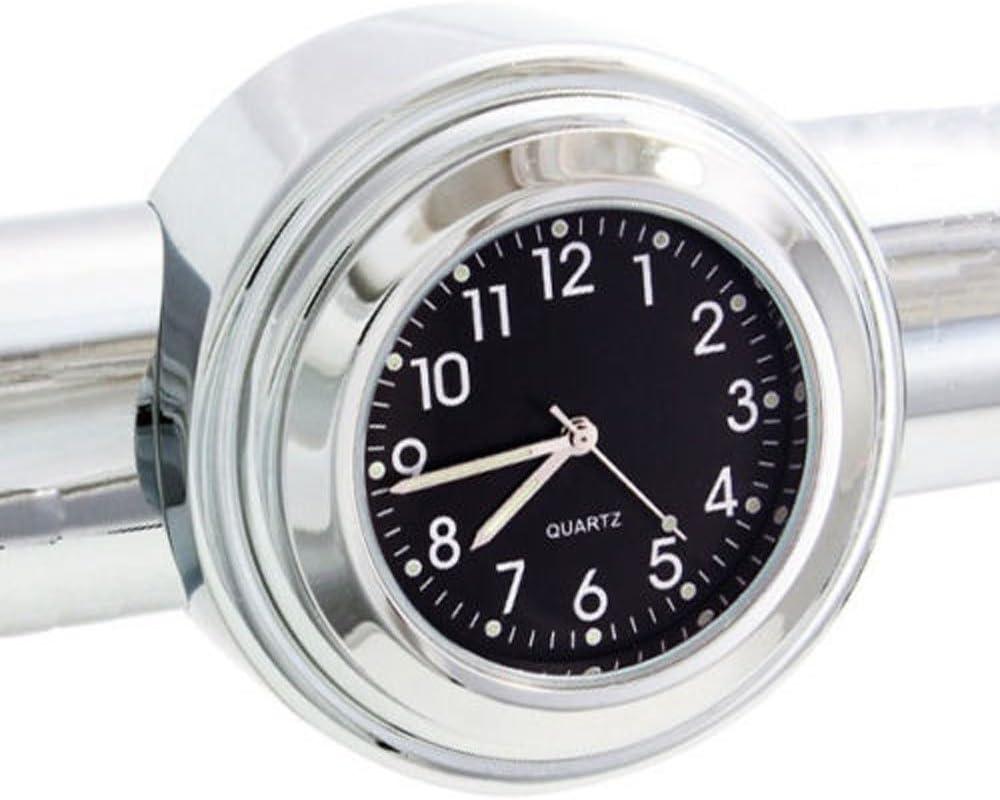 Thermometer RONSHIN 22-25mm Moto Guidon Horloge Thermom/ètre /Étanche Dial Guidon Mont pour Yamaha Kawasaki etc Black dial Clock