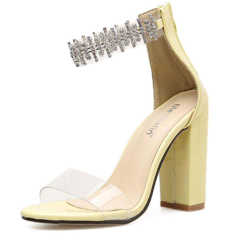 ZYQME Talons 19992 Hauts Toe De La Mode Des Femmes Peep Sangle Toe Pompes Rhinestones Robe De Fête De Mariage Bloc Cheville Sangle Chaussures Yellow 88d0d51 - reprogrammed.space