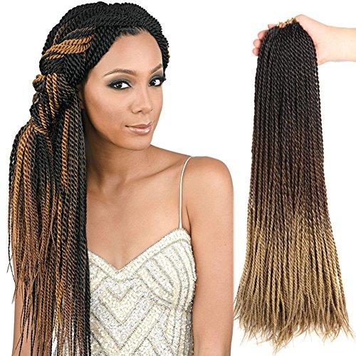 Senegalese Twist Crochet Hair (5Pieces 24Inch) Crochet Braids Synthetic Hair Extension 100g/Pc Ombre Braiding Hair (Black&Golden brown) ()