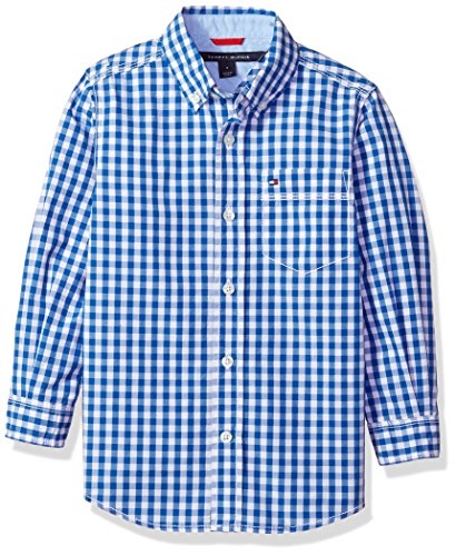 Big Long Sleeve Gingham Woven Shirt, Blue Jean, L ()