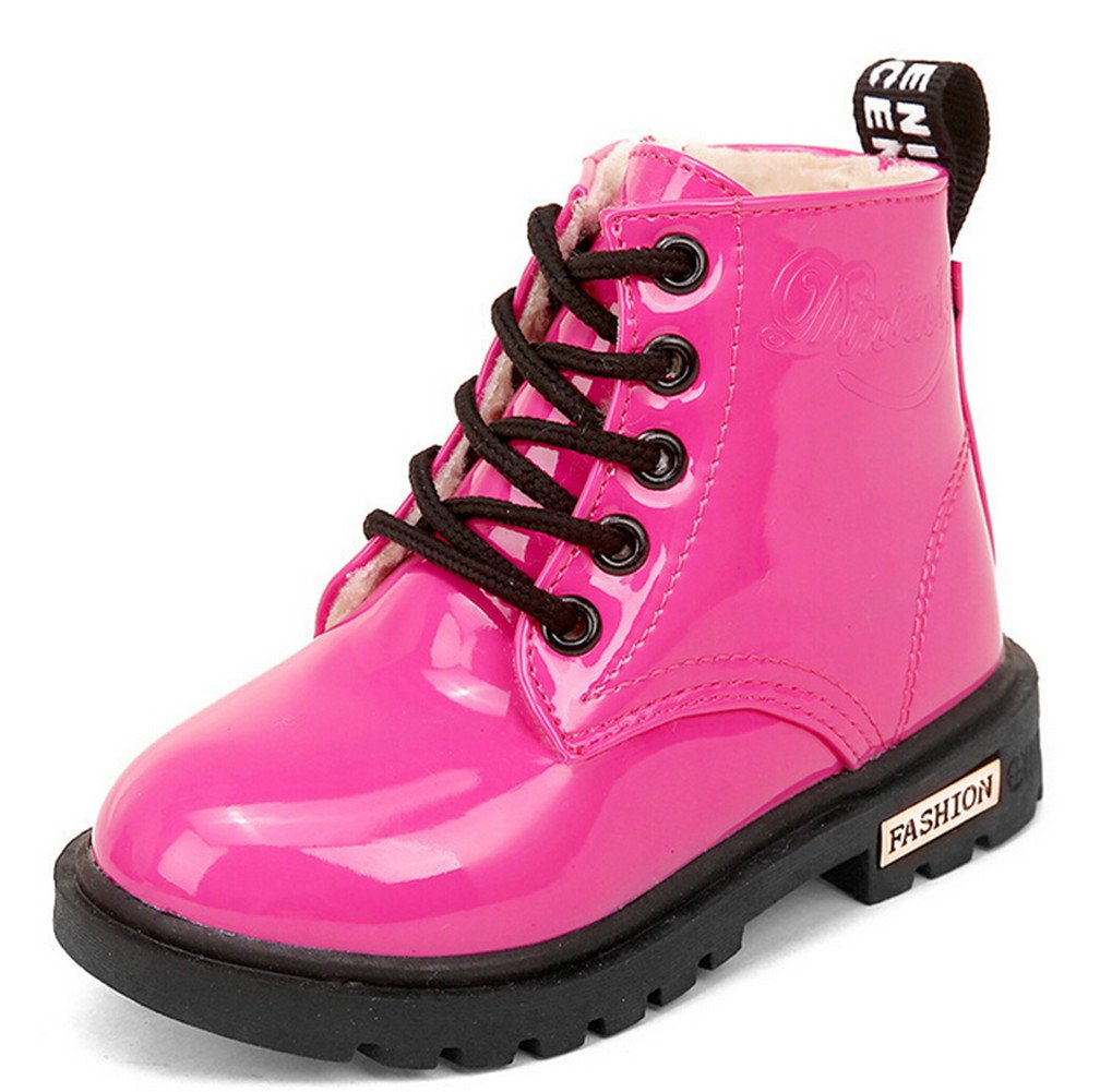 Bumud Boy's Girl's Waterproof Lace-Up Martin Boots Winter Warm Shoes (10 M US Toddler, Hot Pink)