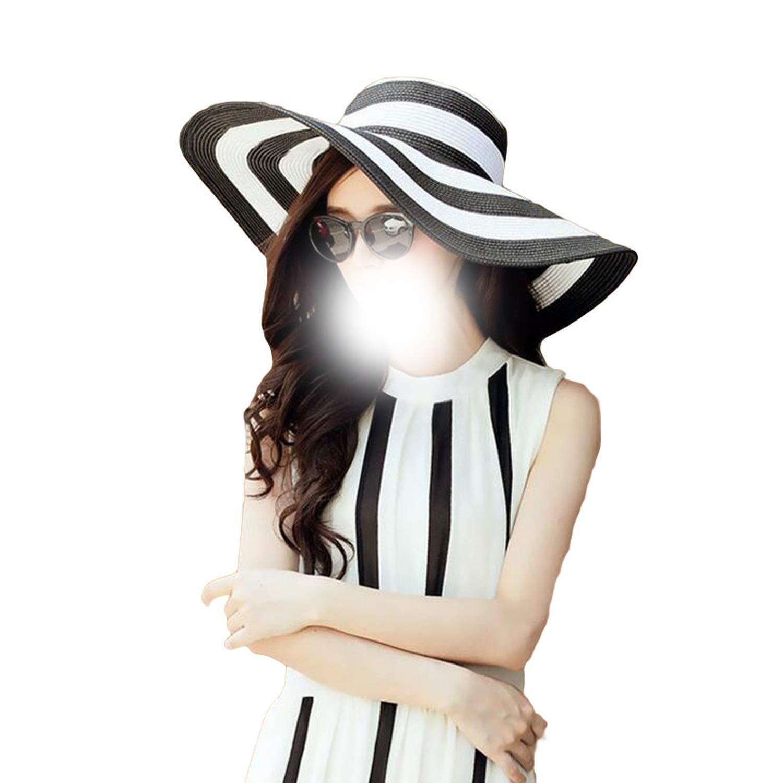 Womens 2019 Straw Panama Sun Hat Black Striped Overflowed Floppy Fashion