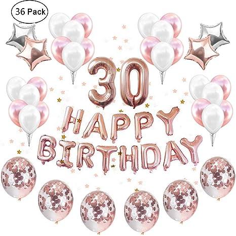 IEONGI Rose Gold 30th Birthday Party Balloons Decoration Set 12 Inch Confetti Decor Supplies
