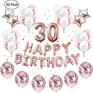 IEONGI Rose Gold 30th Birthday Party Balloons Decoration Set 12 Inch Confetti Decor Supplies