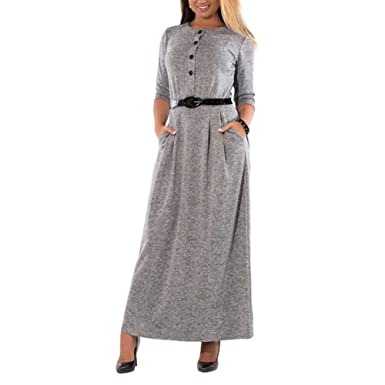 ROPALIA Fashionable Elegant Solid Dress Plus Size Long Sleeve Vintage Flowy Evening Party Maxi Dress with