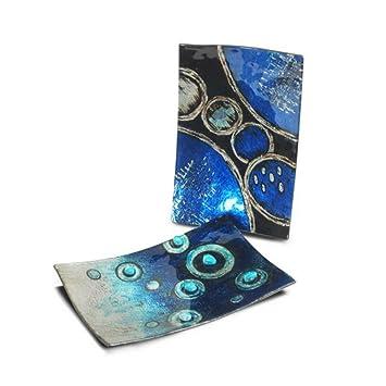 CAPRILO Set de 2 Platos Decorativos Rectangulares Abstractos Azules Vajillas y Cuberterías de Cristal. Adornos y Centros de Mesa .3 x 23 x 15 cm.